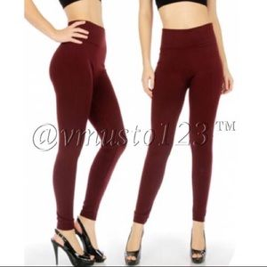 PLUS FLEECE Solid Burgundy Legging