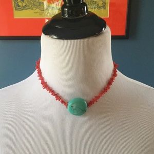 Jewelry - Coral and Stone Choker Necklace