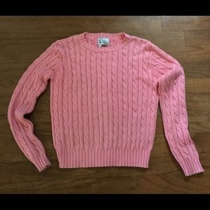 Vintage Lilly Pulitzer pink sweater cable knit