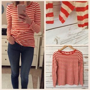 Madewell • Orange & White striped Tee • S