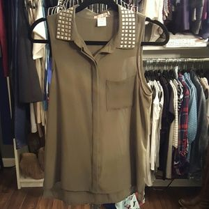 Katie K Tops - Army Green button down w/ silver studded collar