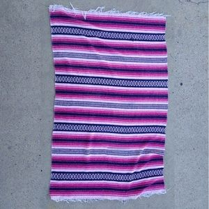Pink, navy blue and white Mexican blanket