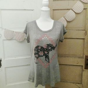 Rebellious One Tops - Juniors Elephant Print Burnout Top