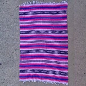 Pink, royal blue and white Mexican blanket