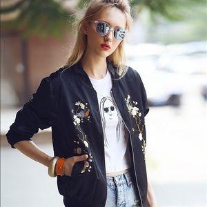 Floral Embroidered Urban Bomber Jacket (Satin)