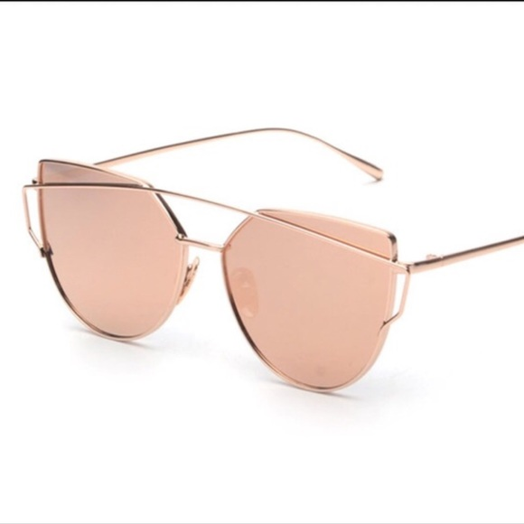 d452e572b8 Gold   Pink Cat Eye Mirrored Sunglasses