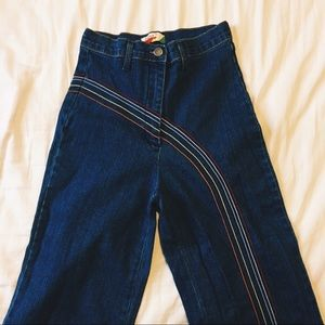 Vintage 70s Wide Leg Embroidered Jeans