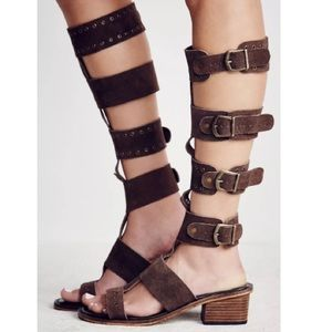 NWT 6 & 7 Free People Brown Suede Gladiator Sandal