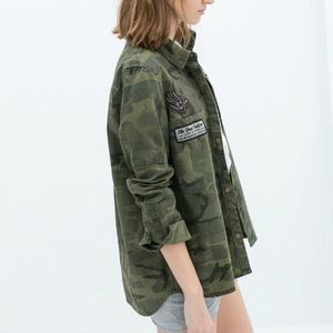 Green Military Camo Embroidered Jacket