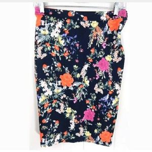 Zara Trafaluc Botanical Floral Pencil Skirt
