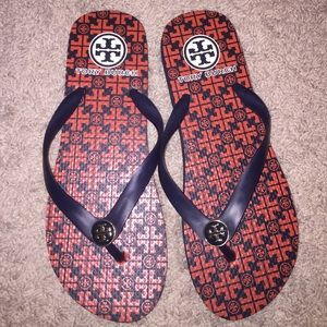 Tory Burch Orange and Navy Sandals