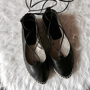 Zara leather Lace-up Espadrilles