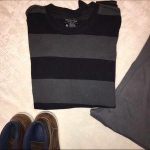 Anchor Blue Other - Gray-black striped ribbed long sleeve shirt
