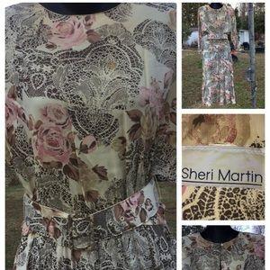 "Vtg. Beautiful by ""Sheri Martin"" 80s dress w/belt"