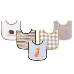 Luvable Friends Other - 5 Pack Baby Woodland Bibs Fox Hedgehog