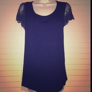Forever 21 Tops - Navy Shirt with Lace Sleeves