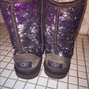 UGG Shoes - Burgundy sparkly uggs