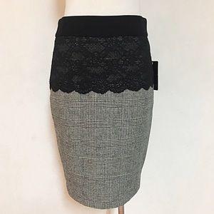 Zara lace wool plaid office pencil slits skirt