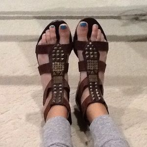 Head Over Heels Shoes - Brown with Gold accent sandals