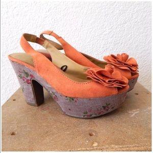 Report Shoes - Flower Peep Toe Slingback High Heel Wedge