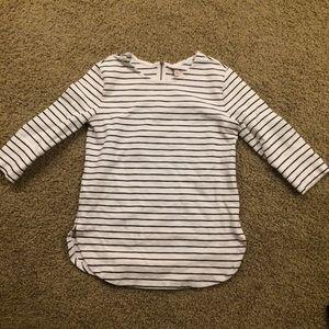 Merona Tunic - 3/4 Sleeve, White + Navy Stripes, M