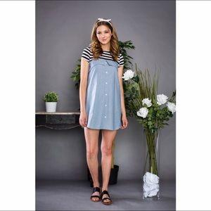 ⭐️NEW⭐️ Striped Contrast Denim Dress 