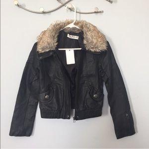 Black leather motor biker jacket fur collar