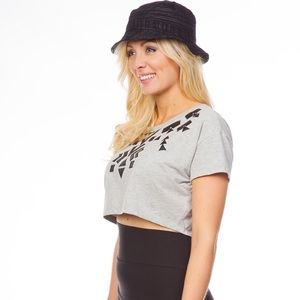 Tops - Heather gray crop top with slashed back