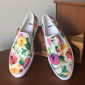 Asos Floral Print Slip On Sneakers