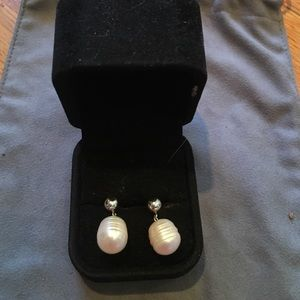 Genuine Freshwater Pearl and Silver Earrings