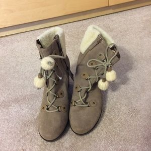 Nike Air Cole Haan Wedge Bootie Suede Boots