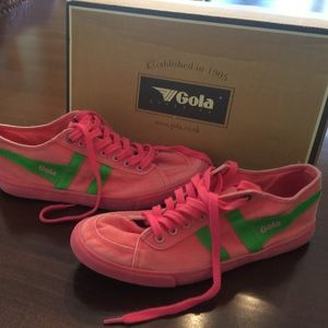 Gola Shoes - Gola Classic Neon Pink/Green Sneakers - Size 7