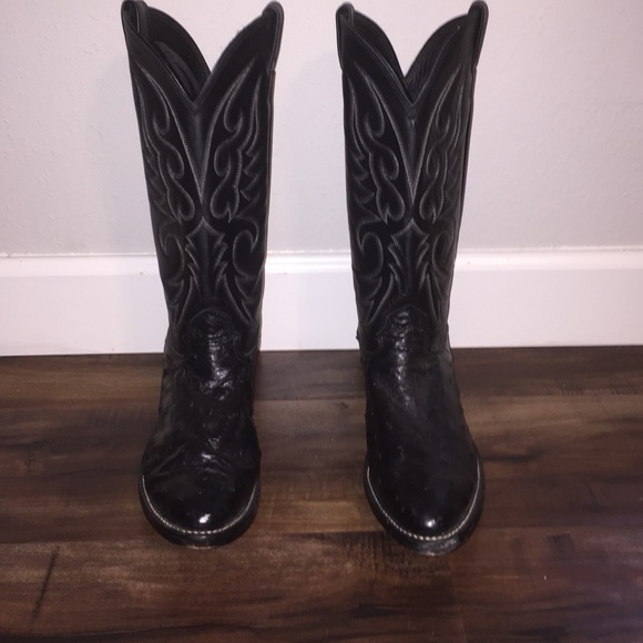 9ce815aef28 Larry Mahan Black Ostrich Boots