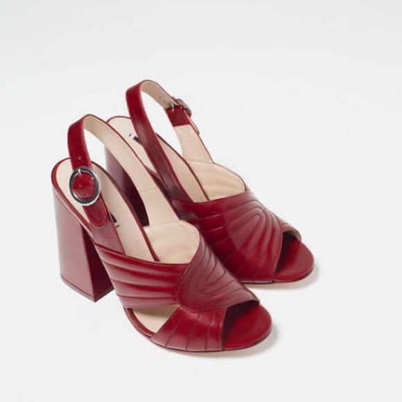 ce62b8c559f ZARA RED LEATHER HIGH HEEL SANDALS Size 7.5 US