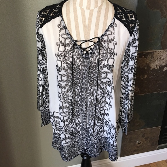 Anthropologie Tops Fig And Flower Lace Up Blouse Poshmark