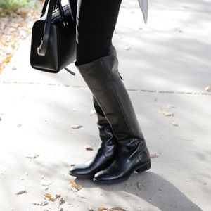 Black leather Sole Society Andie OTK riding boots
