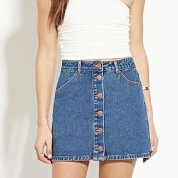 5494950344 Forever 21 Dresses & Skirts - Forever 21 Button Down Denim Skirt