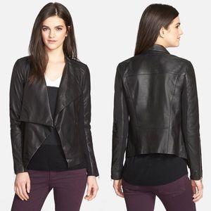 Trouve Jackets & Blazers - Trouve Drape Collar Leather Jacket