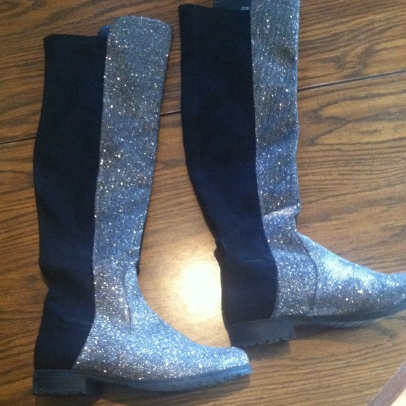 DSW Shoes | Tall Black Silver Sparkle