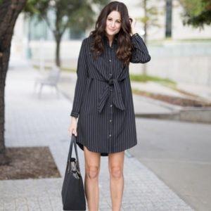 NWT black white pinstripe long sleeve shirt dress
