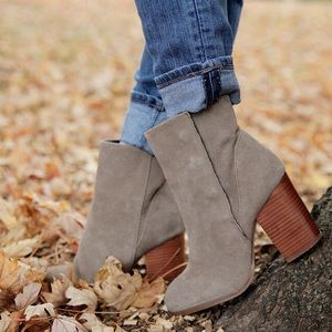 "Taupe suede ankle booties size 6 ""Henley"""
