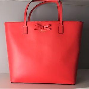 kate spade Bags - Bright coral Kate Spade Tori leather tote