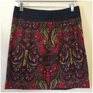 Anthropologie Red Paisley Corduroy Skirt by Cidra
