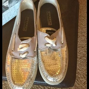 Sperry Shoes - Sperry Silver Sequin Sneakers