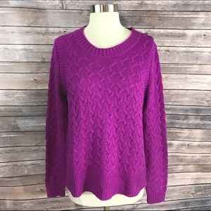 J. Crew Sweaters - J Crew Cable Knit Sweater Med Purple Long Sleeve