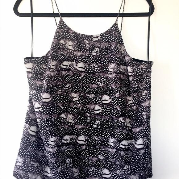 JCrew Silk Cami in Feather Print 0 XS Black White Grey Top Tank E6707