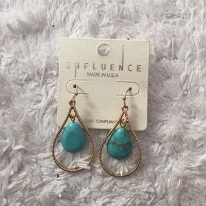 Jewelry - Gold and Turquoise Earrings