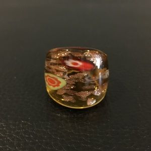 Murano Jewelry - Murano glass art ring, size approx. 6