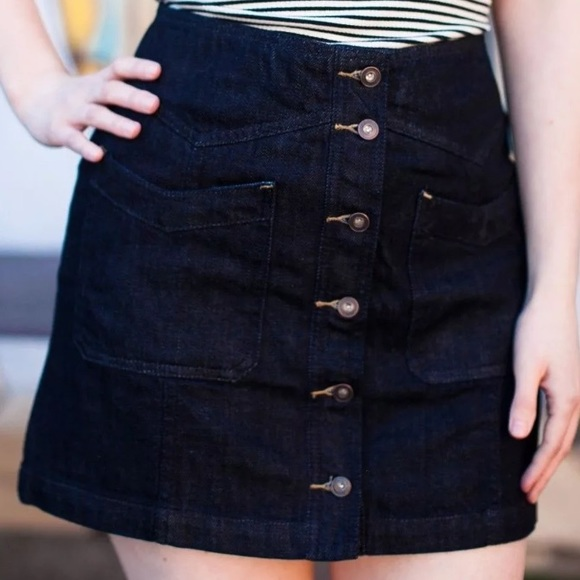 91ae9ce996f0c Free People Come A Little Closer Button Jean Skirt