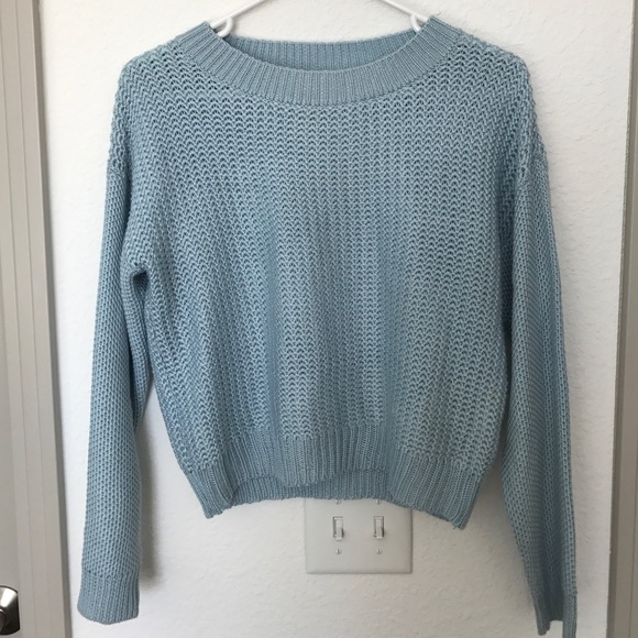 75% off Forever 21 Tops - Light Blue Cropped Sweater - Forever 21 ...